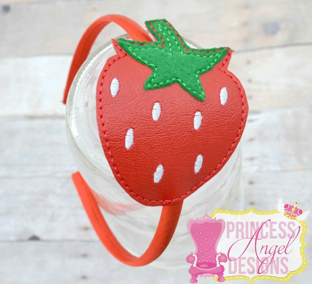Strawberry Embroidered Headband available at The BowFairies #foodforthought auction Album Link: https://www.facebook.com/pg/TheBowfairies/photos/?tab=album&album_id=10154472391933920