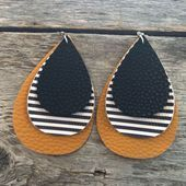 Photo of Gorgeous Mustard and Striped Faux Leather Earrings  Beautiful Tear drop earrings…