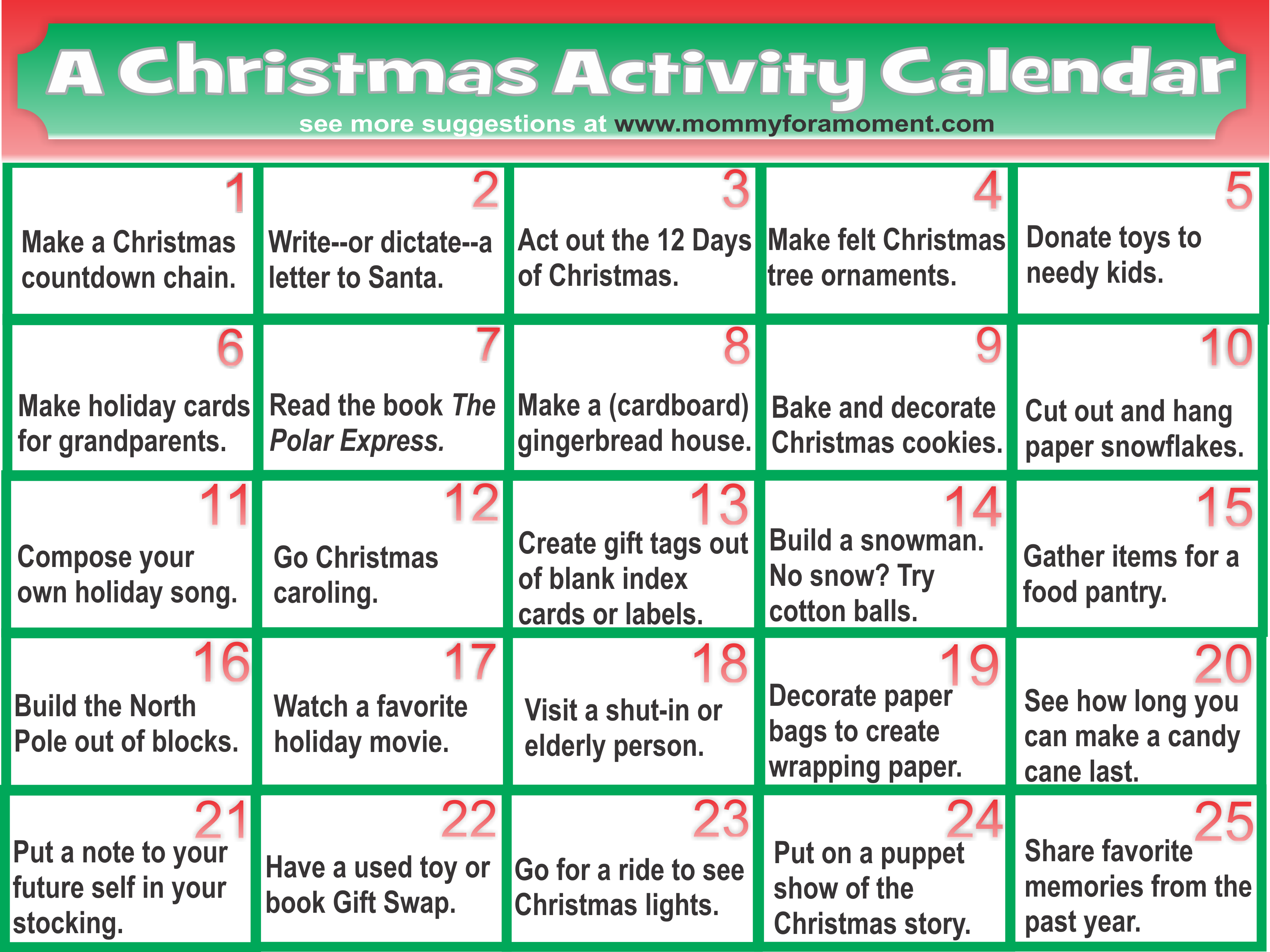 25 Fun Easy And Significant Christmas Activities To Do With Kids During The Month Of Dece Christmas Activities Advent Calendar Activities Calendar Activities