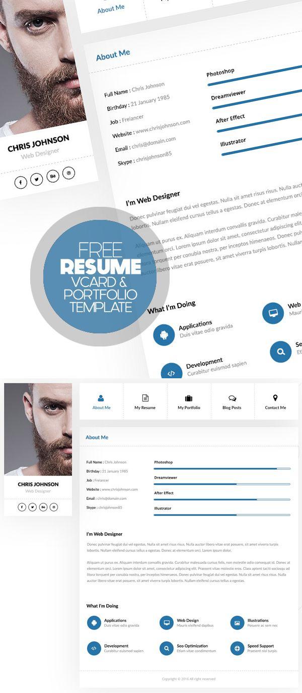 Free Personal Resume  Vcard  Portfolio Free Psd  ResumeCv