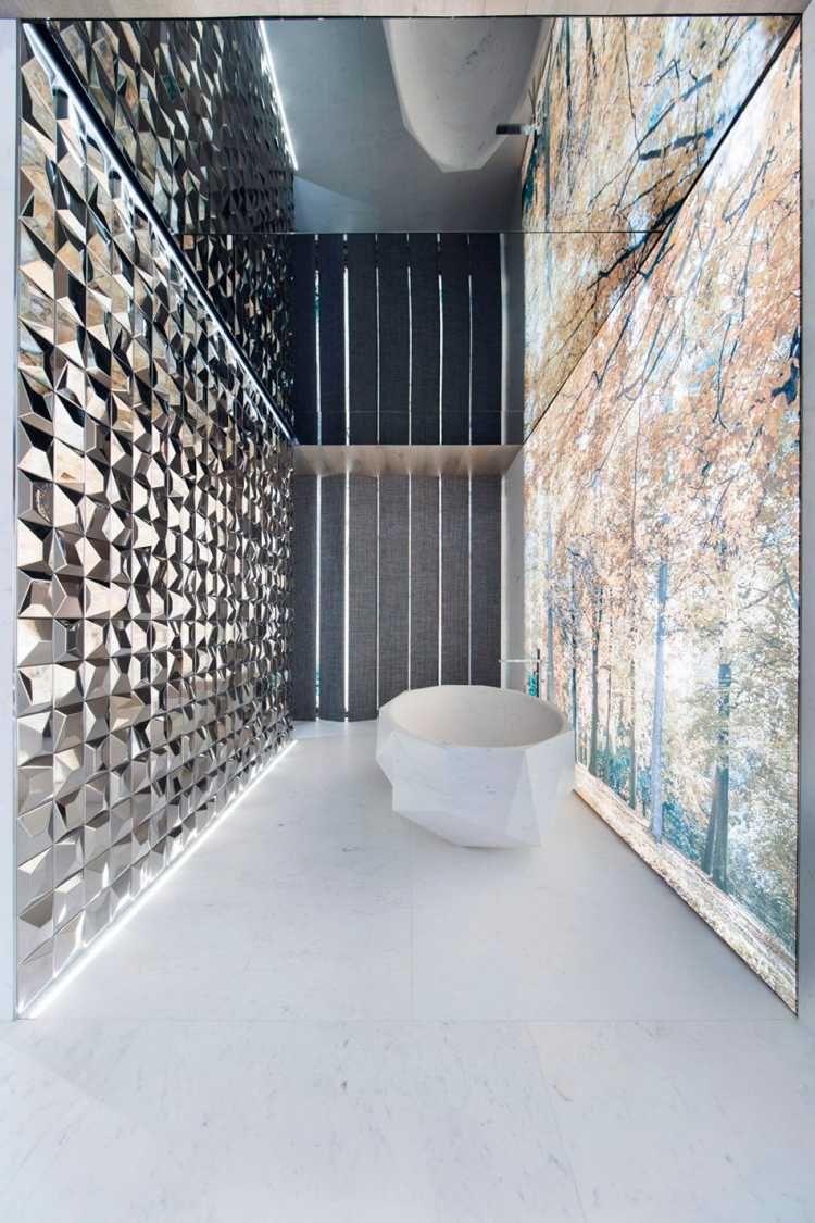 Indirekte Beleuchtung Wandgestaltung Fototapete Freistehende Badewanne.geometrisch  (