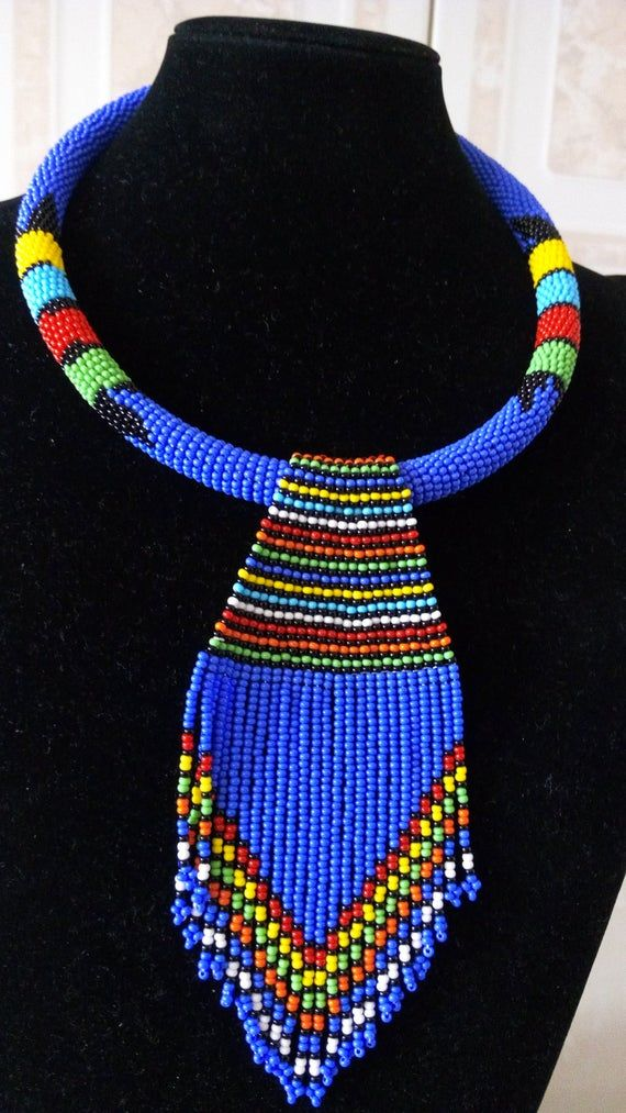 Photo of ON SALE Blue Beaded Necklace – African Jewelry – Maasai Necklace – Tribal Jewelry – Zulu Necklace –