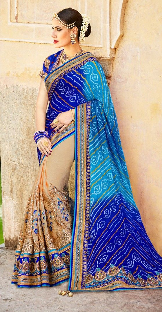 abbff45e54b37 Buy Designer Sarees Designer Blue and Cream Colour Tussar Silk Jaipuri  Bandhani Saree Designer sarees collection