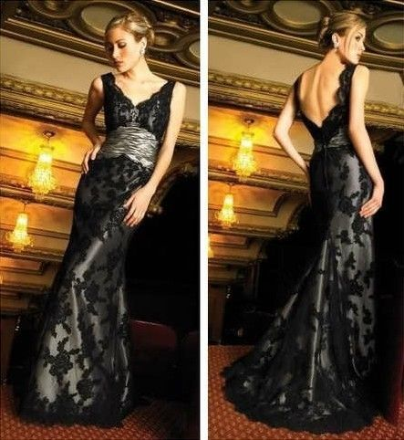 Black Lace Wedding Bridal Gown Prom Bridesmaid Evening Party Dresses all size