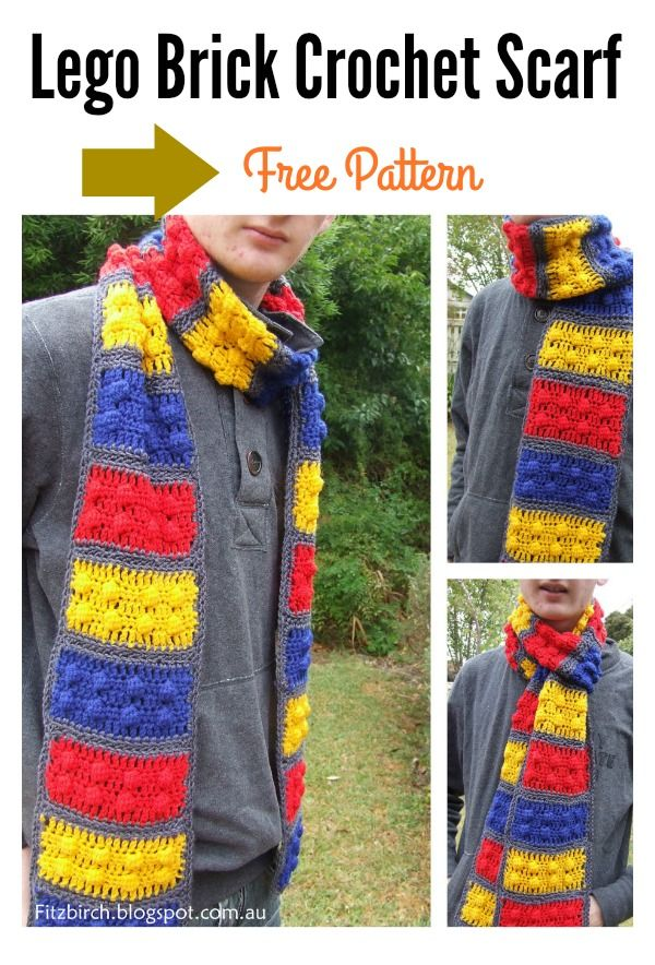 Awesome Lego Brick Scarf Free Crochet Pattern | Blusas lindas y Blusas