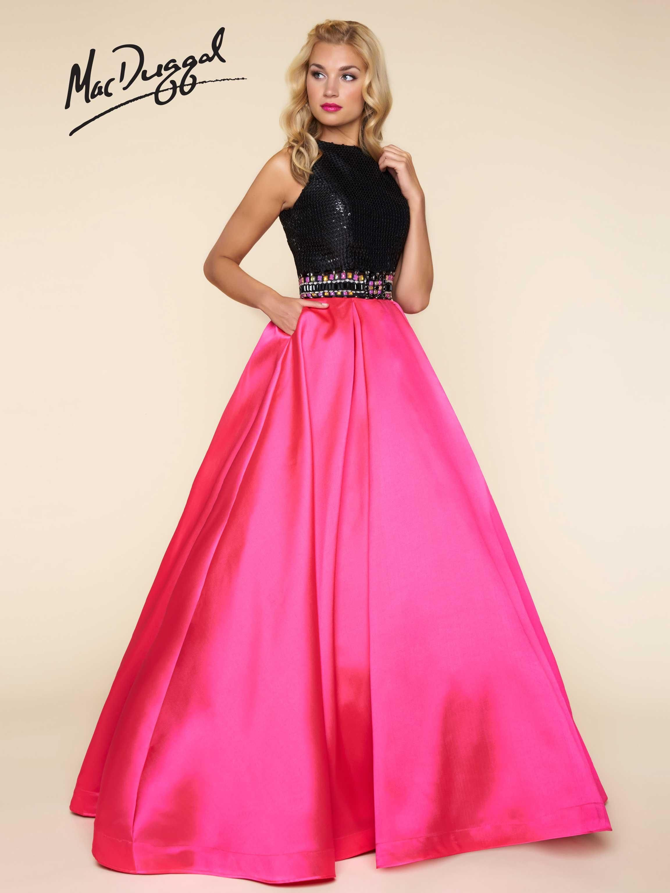 6baa86b34c40 MacDuggal Sleeveless Ballgown with fully beaded bodice and open back, satin  skirt with pockets. Available in sizes 0-16 in Hot Pink/Black and White/ Black