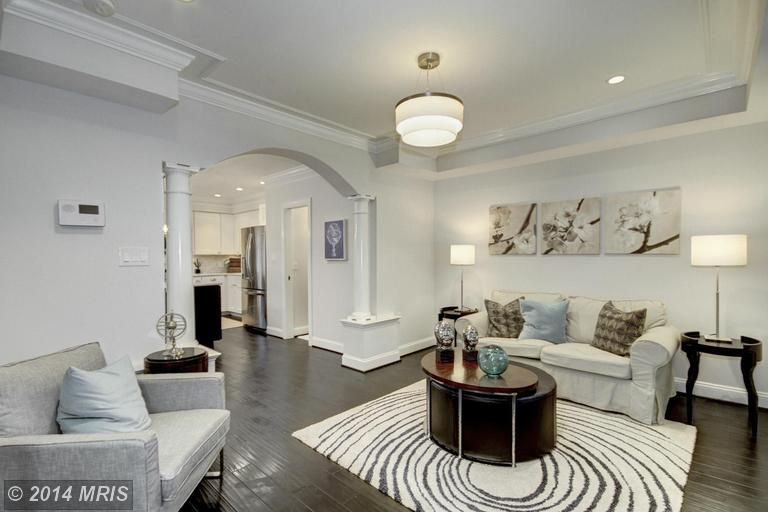 Contemporary Living Room With Crown Molding, Flush Light, EIVOR CIRKEL Rug,  High Pile