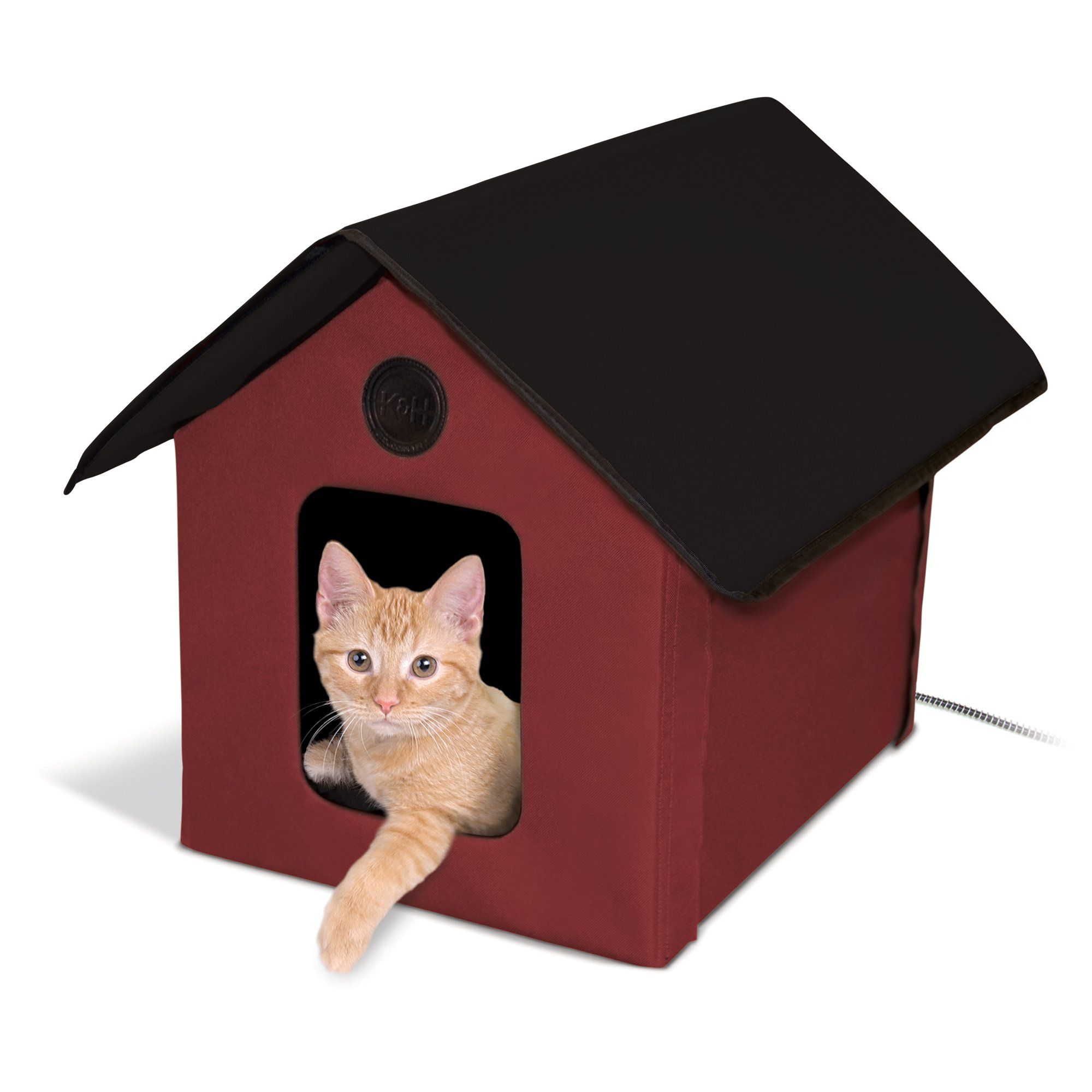 K H Red And Black Outdoor Heated Cat House Barn 18 L X 22 W Petco Outdoor Cat House Heated Outdoor Cat House Heated Cat House