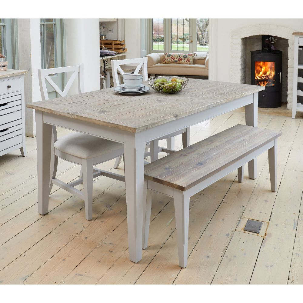 Signature Grey Painted Furniture Dining Bench 9cm   Sale ...