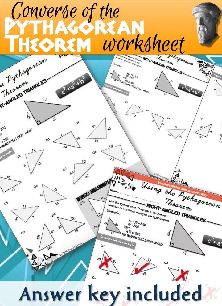 Converse of the Pythagorean Theorem (WORKSHEET