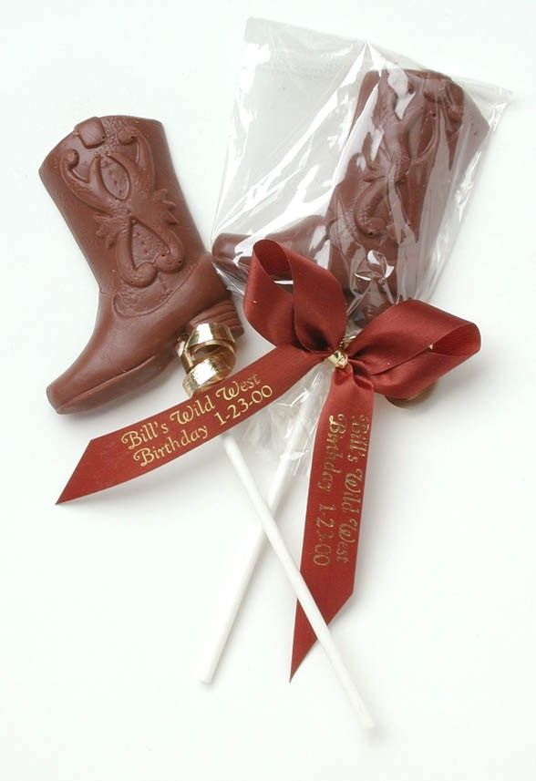 Cowboy Wedding Gifts: Chocolate Cowboy Boot Western Favors $2.90