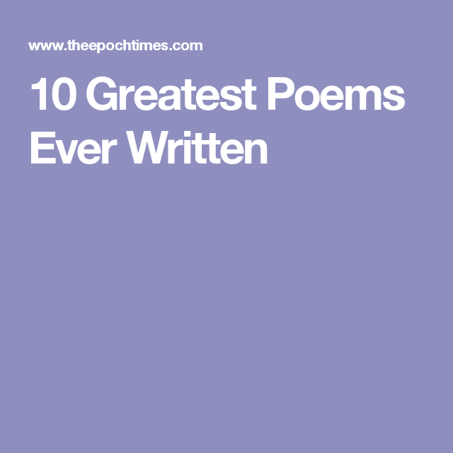 10 Greatest Poems Ever Written Middle School English