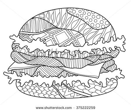 Hamburger Zentangle Coloring Page stock vector