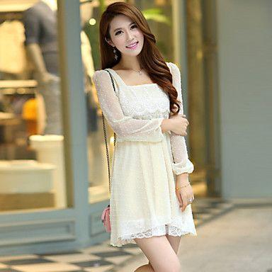 [$6.99] Womenu0027s Cute Dress Above Knee Short Sleeve Beige All Seasons