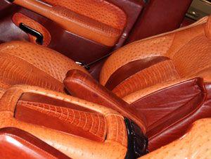 Custom caiman crocodile and ostrich leather car interior - Custom leather interior for trucks ...
