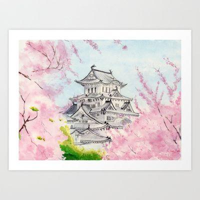 Himeji Castle Art Watercolor Painting Print By Suisai Genki