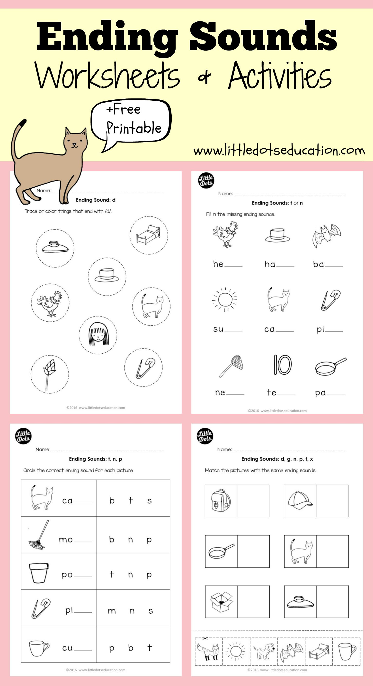 Download ending sounds worksheets and activities for preschool or
