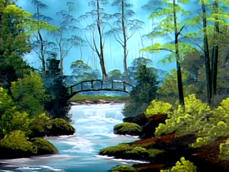 Secluded Bridge The Joy Of Painting S10e4 The Joy Of Painting Bob Ross Paintings Bali Painting