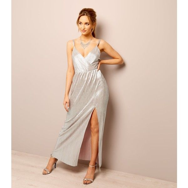 New Look Rose Gold Plisse Cross Strap Maxi Dress ($38) ❤ liked on ...