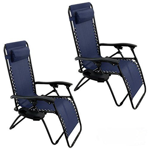 Belleze Zero Gravity Chair Recliner Patio Pool Chair Cup Holder Utility  Tray (2 PACK)