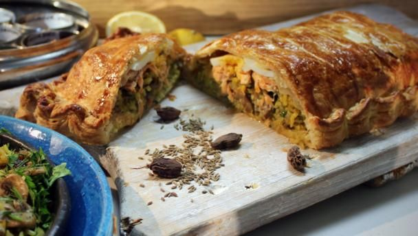 This rice egg and salmon stuffed fish pie makes a wonderful centre salmon couiliabac minus the eggs and use filo instead mary berry has similar recipe forumfinder Choice Image
