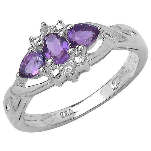 The Amethyst Collection: Ladies Sterling Silver Amethyst & Diamond Ring with 0.46 Carats of Genuine Amethyst & 2 Diamonds (Size O). Comes in a Quality Ring Case for that Special Gift.