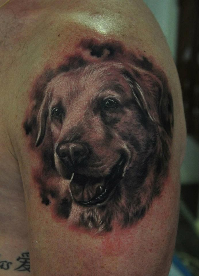 Open Mouth Dog Tattoo On Shoulder