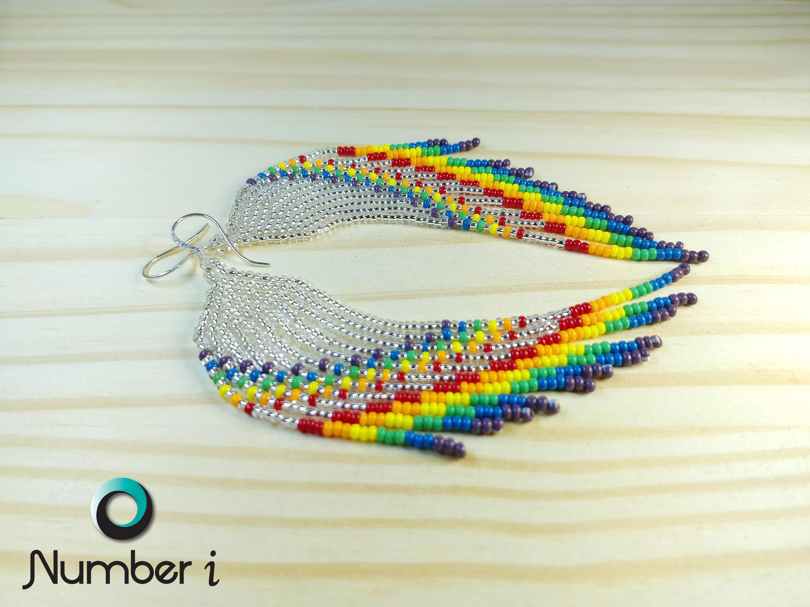 Beautiful Rainbow Blue Beads With Pink Seed Beads Sterling Silver Drop Earrings