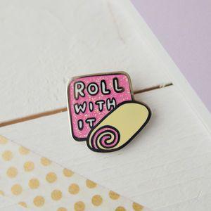 Roll With It Hard Enamel Swiss Roll Glitter Pin