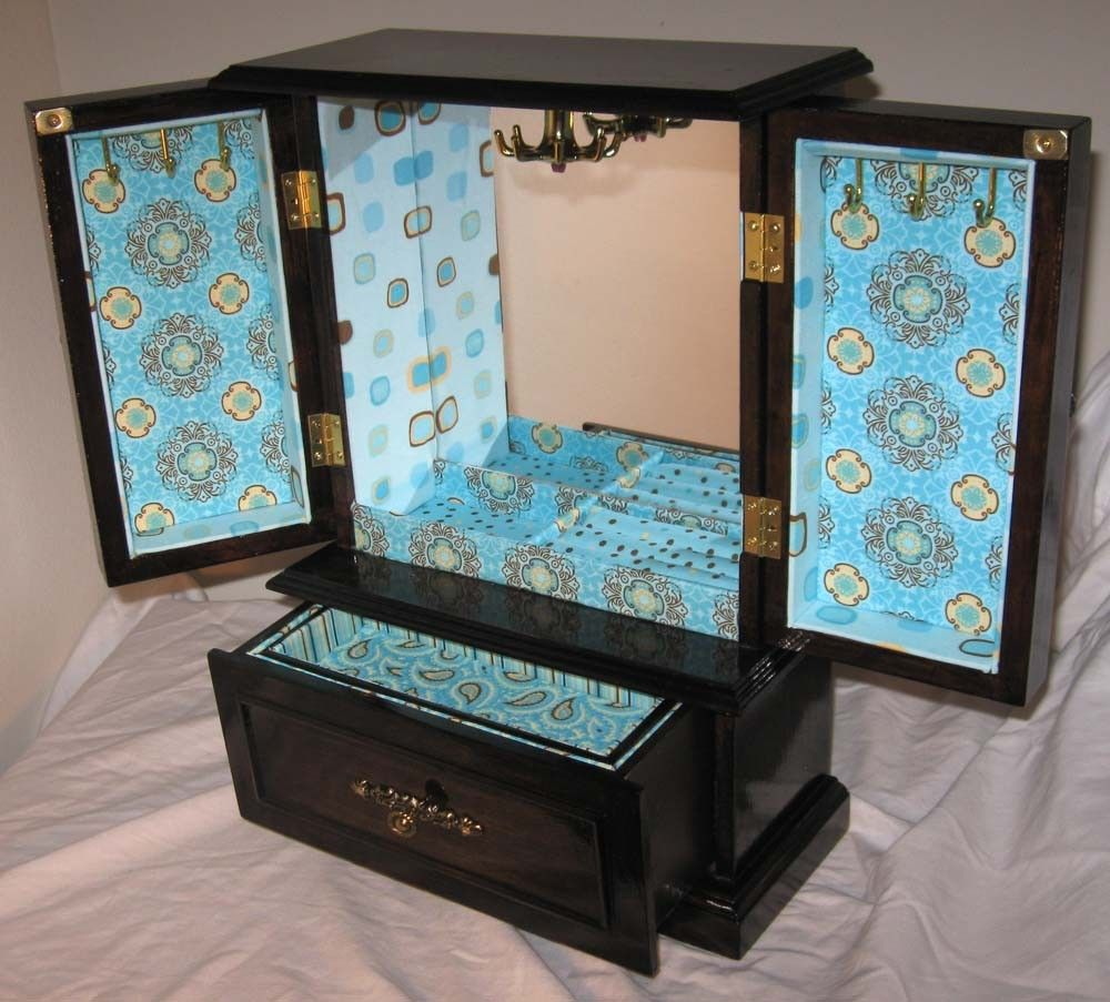 Refinished chocolate brown jewelry box 4500 via Etsy For the