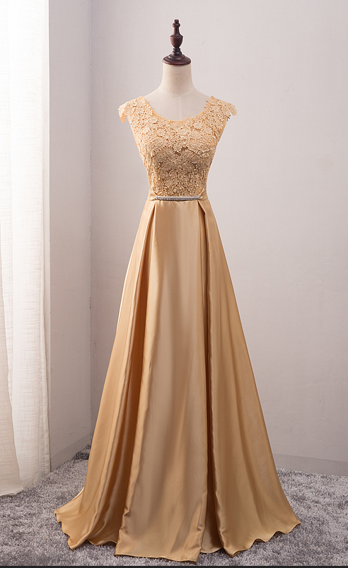 3d4577a93b0 Gold Floral Lace Appliqués Cap Sleeves Scoop Neck Floor Length Satin Prom  Dress