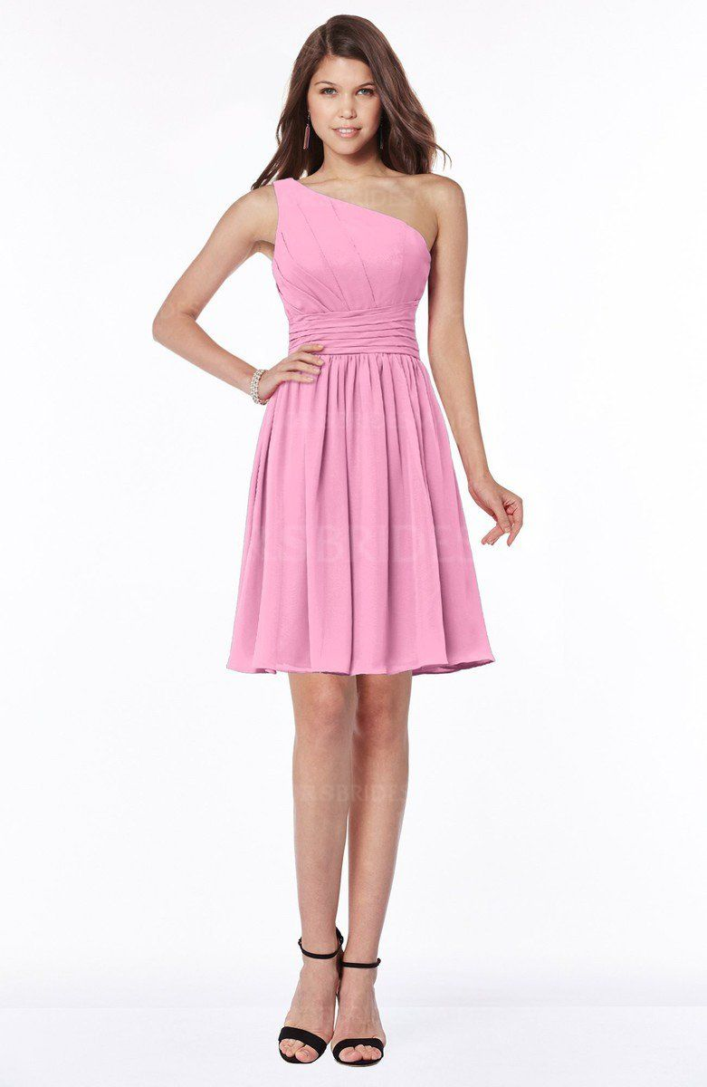 b26c348b6b Pink Classic One Shoulder Sleeveless Chiffon Knee Length Ruching Bridesmaid  Dresses (Style D91060)