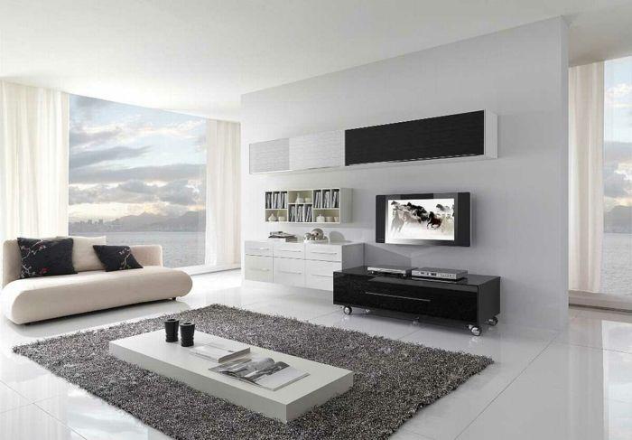 modern einrichten wohnzimmer panoramafenster teppich lowboard - kleines wohnzimmer modern einrichten