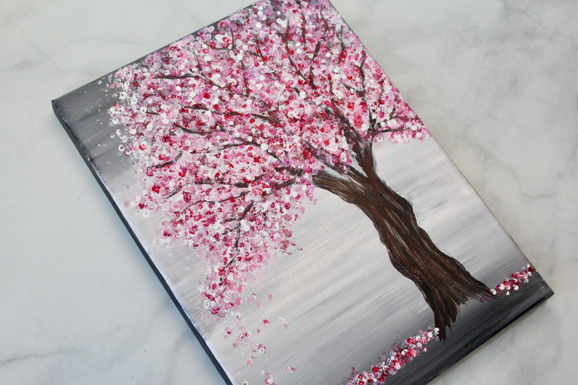 Painting A Cherry Blossom Tree With Acrylics And Cotton Swabs Cherry Blossom Art Cherry Blossom Painting Acrylic Cherry Blossom Painting