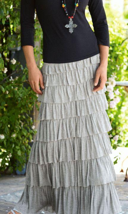 17c6808aaab3ac Tiered Knit Skirt - Ruffle Skirt
