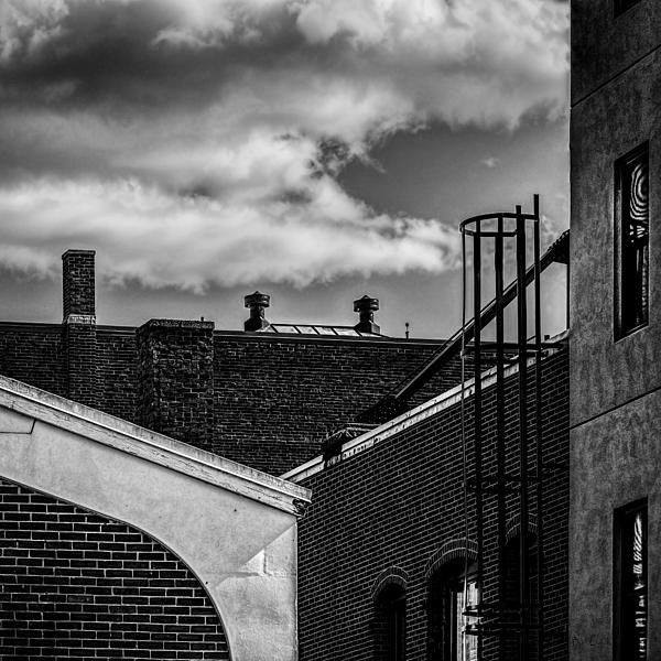 Alley Off The Park - Original fine art black and white architecture street photography by Bob Orsillo.  Copyright (c)Bob Orsillo / http://orsillo.com - All Rights Reserved. Buy art online. Buy photography online