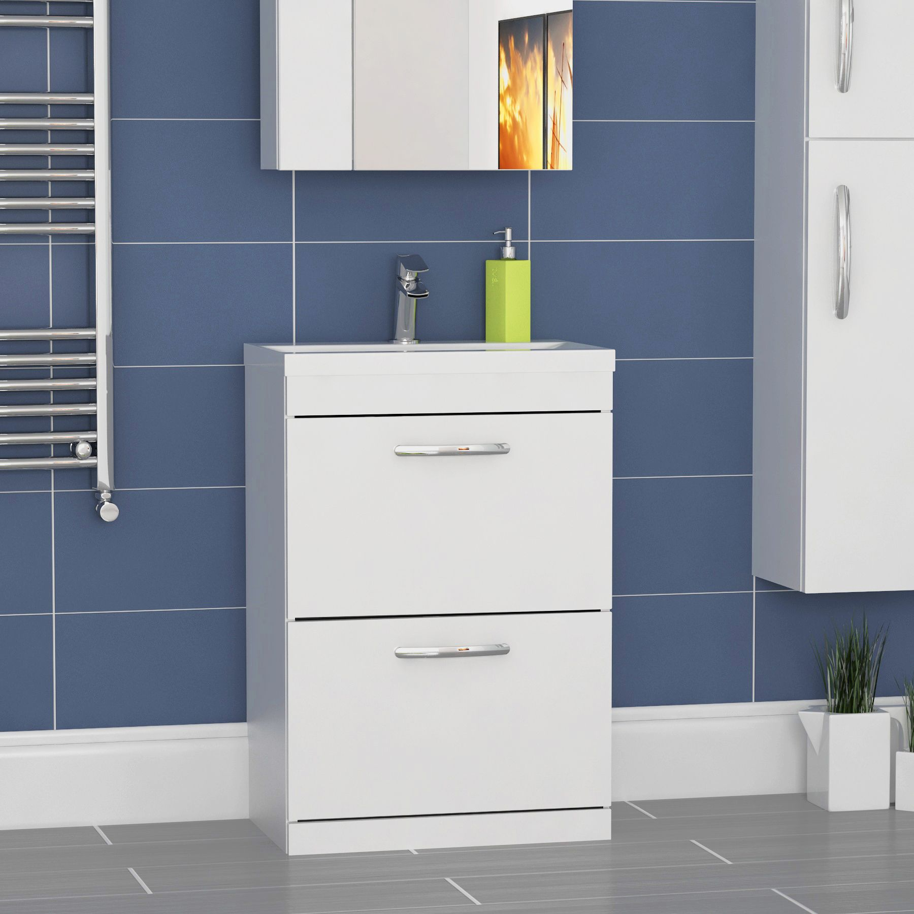 Premier Athena 600mm Gloss White Floor Standing 2 Drawer Vanity Unit Cabinet With Minimalist Basin In 2020 Wall Hung Vanity Basin Cabinet Vanity Units