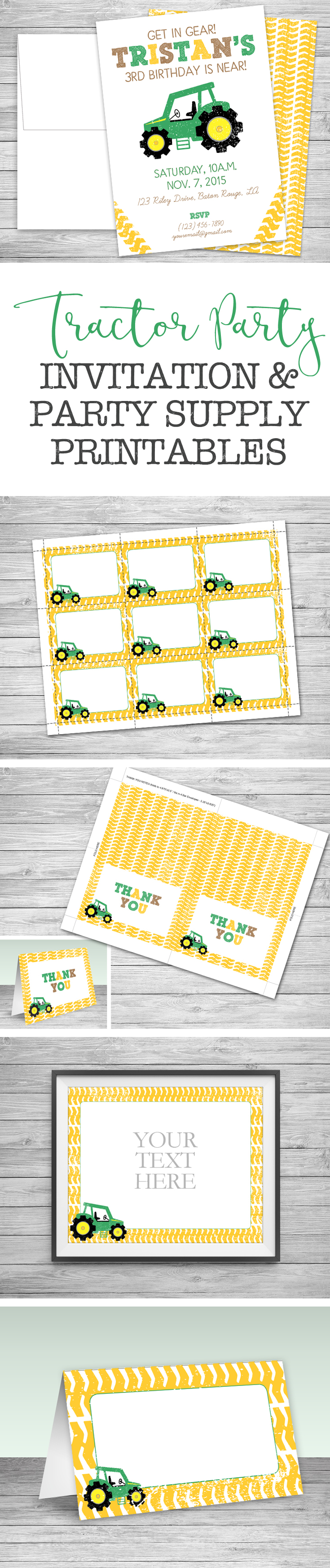 Tractor Party Invitations + Envelopes - Birthday - Digital or ...