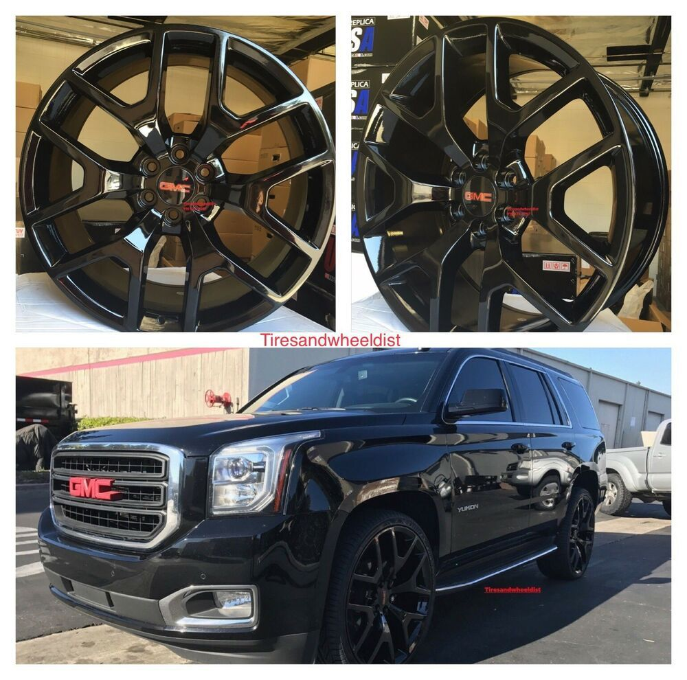 Details About 24 Gmc 1500 Sierra Gloss Black Tires Rims Denali