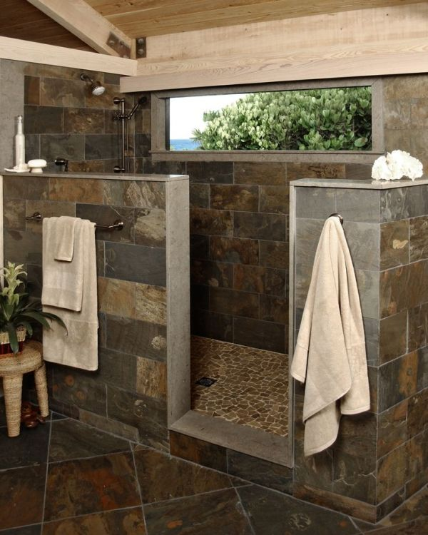 A Rustic Shower With Beautiful Stone Flooring Naturaldesign