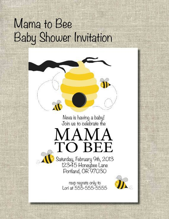 Bee baby shower invitedigital designmama to bee bees baby bee child bathe invite by printablepartiesinc on e see more at the photo link filmwisefo