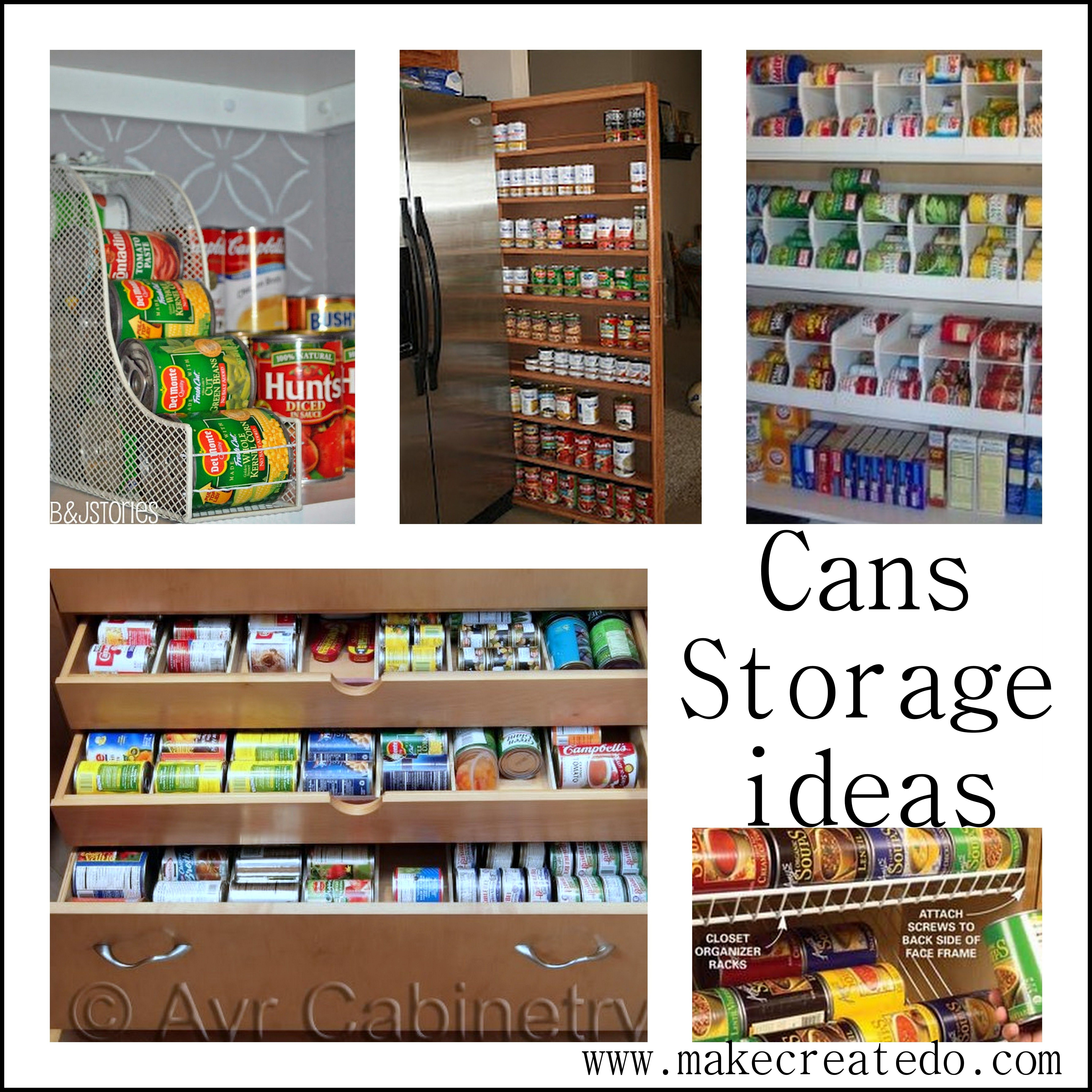 Food cans storage ideas in the pantry make create do for Pantry can storage diy