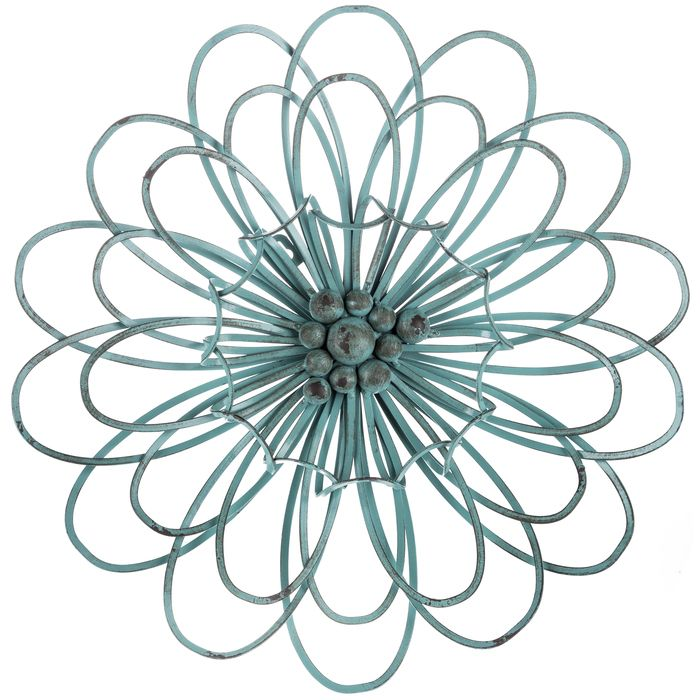 Turquoise 3D Metal Flower Wall Decor | Humble abode | Pinterest ...