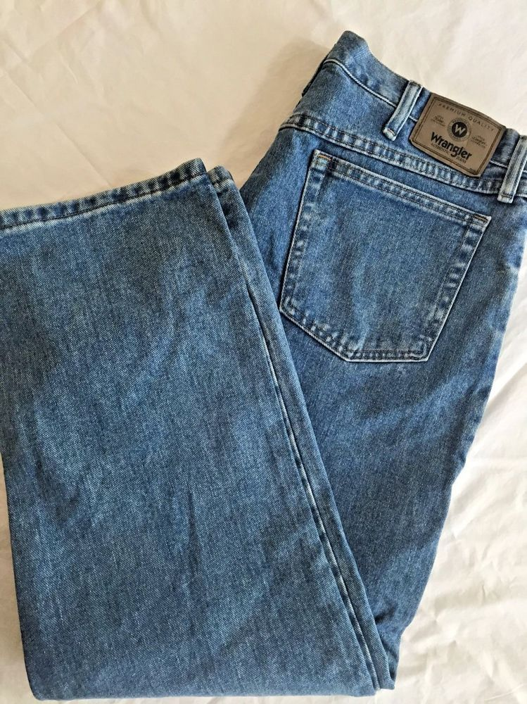 47c1534a Wrangler Premium Mens Relaxed Fit Jeans 36 x 29 37.5 x 30 Light Wash  97601SB #Wrangler #Relaxed