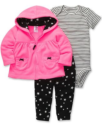 Carter's Baby Set, Baby Girls 3-Piece Cardigan, Bodysuit and Pants - Kids Baby Girl (0-24 months) - Macy's