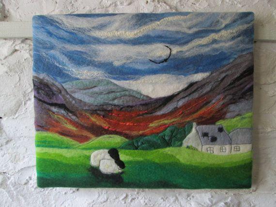 textile art felt landscape felt painting hill by SueForeyfibreart