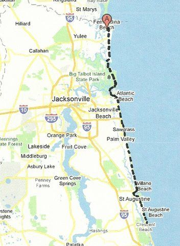 Map Of Florida Roads.Florida Backroads Travel Map Of Route Along Sr A1a From Fernandina