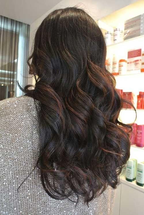 Chocolate balayage highlights on black curls hair pinterest beautiful gorgeous balayage highlights for dark hair pmusecretfo Image collections