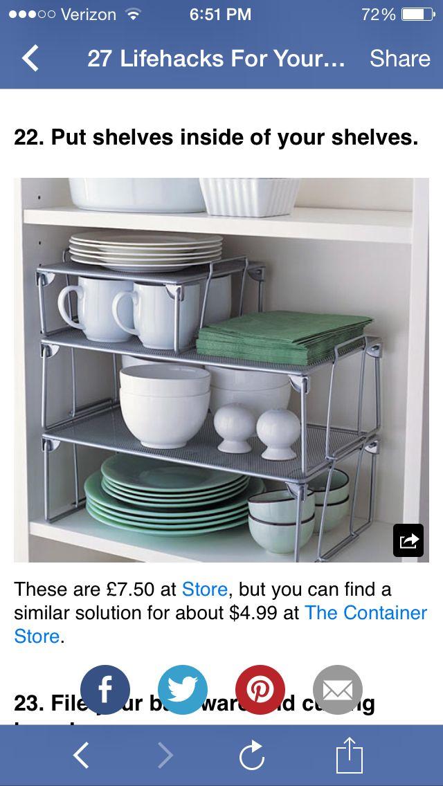 Shelves inside of shelves | Tiny kitchen, Kitchen storage ...