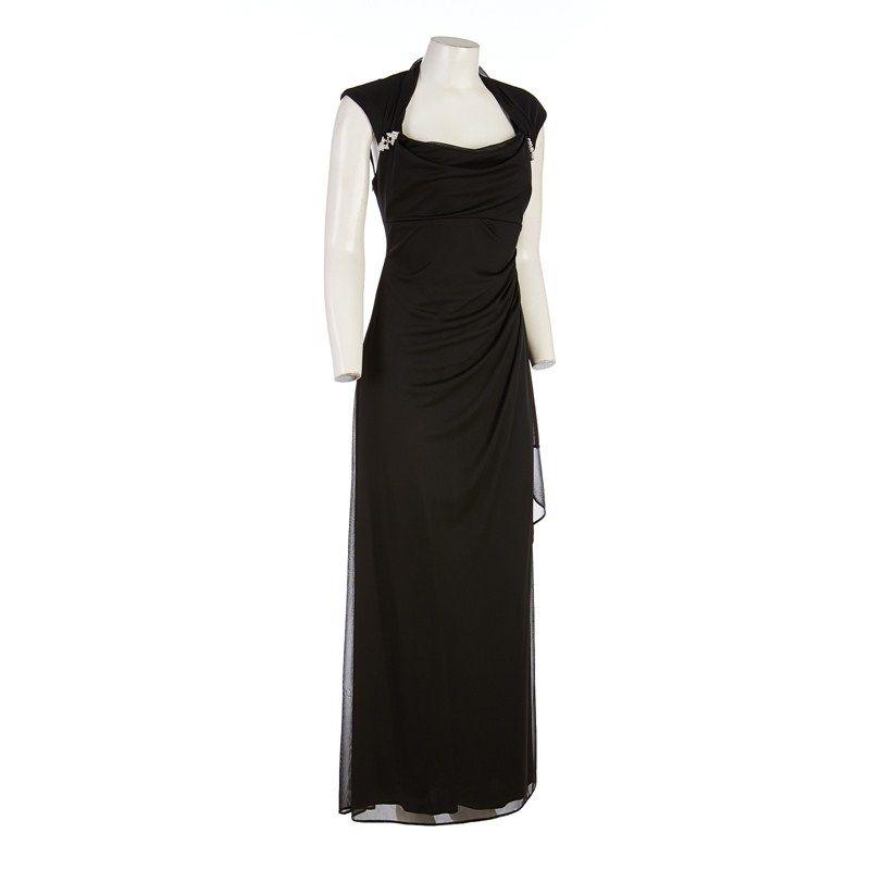 Drapeneck Gown w/Rhinestones - Petite